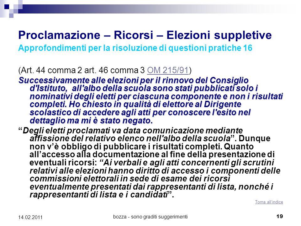 bozza - sono graditi suggerimenti19 14.02.2011 Proclamazione – Ricorsi – Elezioni suppletive Approfondimenti per la risoluzione di questioni pratiche