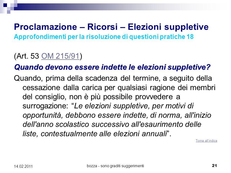 bozza - sono graditi suggerimenti21 14.02.2011 Proclamazione – Ricorsi – Elezioni suppletive Approfondimenti per la risoluzione di questioni pratiche 18 (Art.