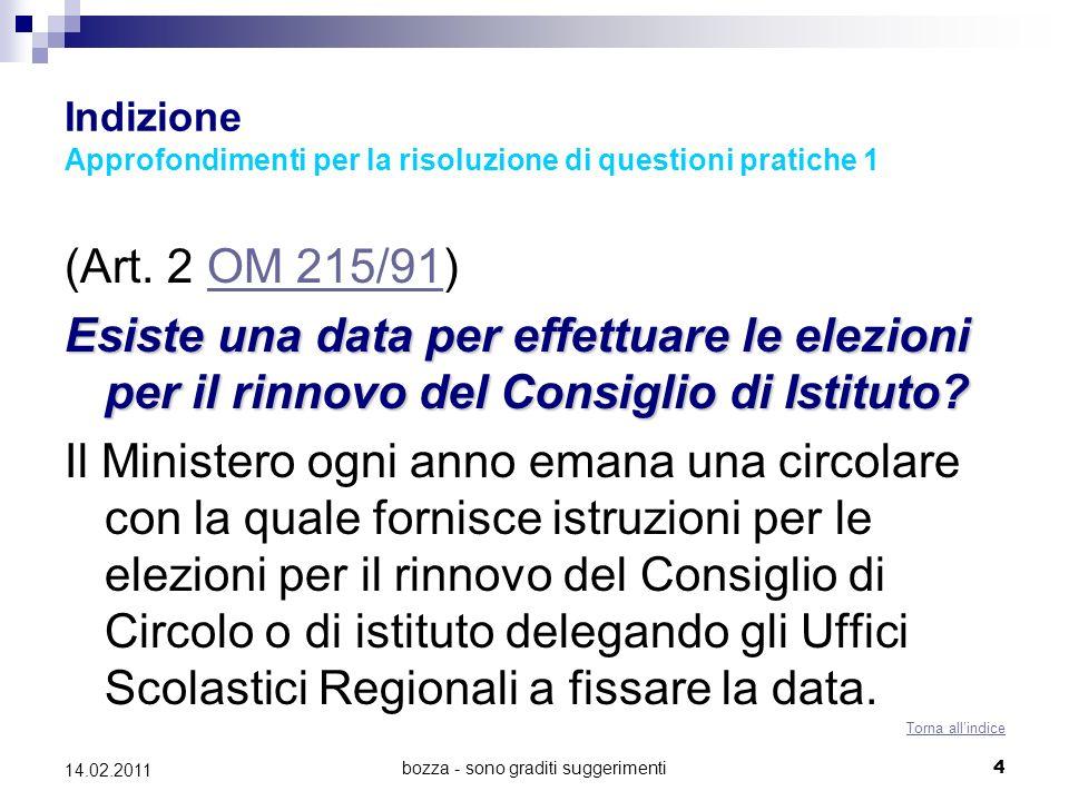 bozza - sono graditi suggerimenti4 14.02.2011 Indizione Approfondimenti per la risoluzione di questioni pratiche 1 (Art. 2 OM 215/91)OM 215/91 Esiste