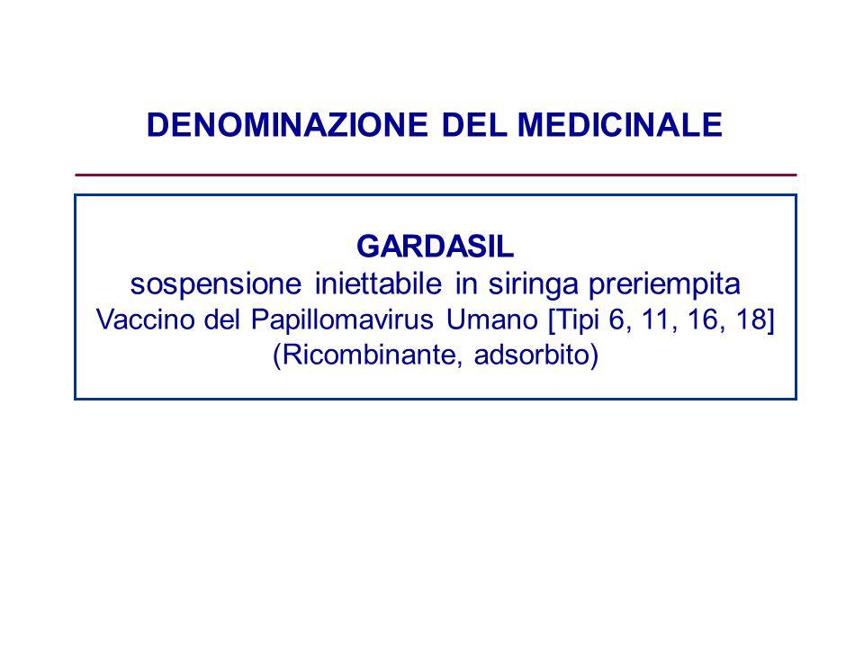 DENOMINAZIONE DEL MEDICINALE GARDASIL sospensione iniettabile in siringa preriempita Vaccino del Papillomavirus Umano [Tipi 6, 11, 16, 18] (Ricombinan