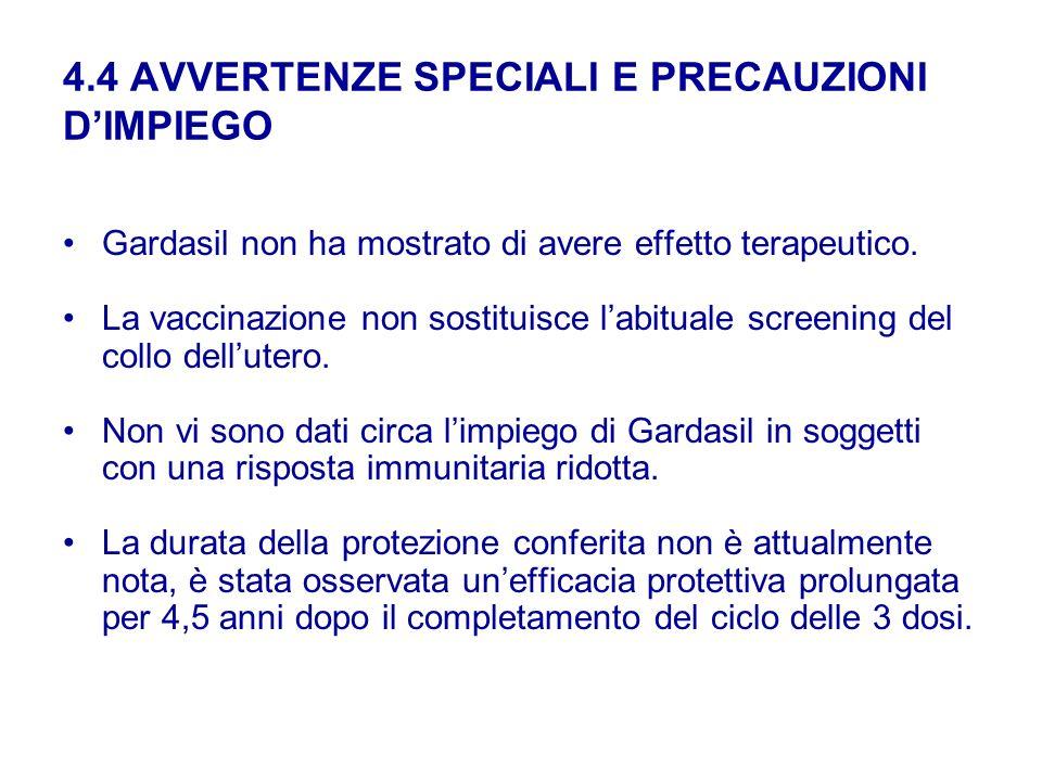 4.4 AVVERTENZE SPECIALI E PRECAUZIONI DIMPIEGO Gardasil non ha mostrato di avere effetto terapeutico. La vaccinazione non sostituisce labituale screen