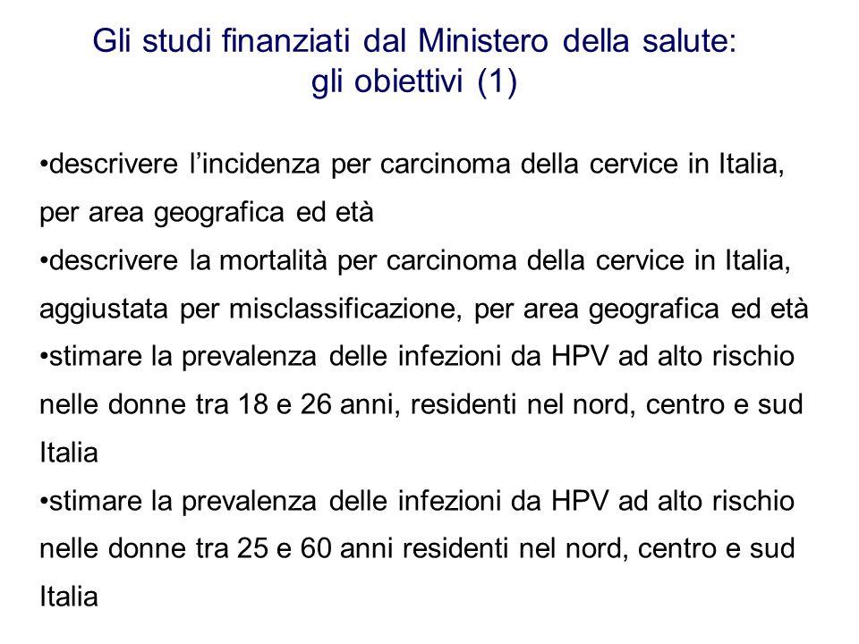 Gli studi finanziati dal Ministero della salute: gli obiettivi (1) descrivere lincidenza per carcinoma della cervice in Italia, per area geografica ed