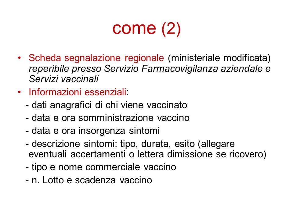 come (2) Scheda segnalazione regionale (ministeriale modificata) reperibile presso Servizio Farmacovigilanza aziendale e Servizi vaccinali Informazion