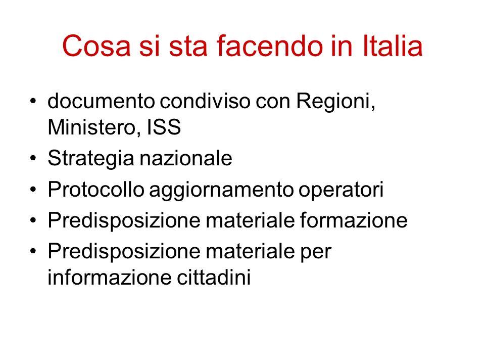 Cosa si sta facendo in Italia documento condiviso con Regioni, Ministero, ISS Strategia nazionale Protocollo aggiornamento operatori Predisposizione m