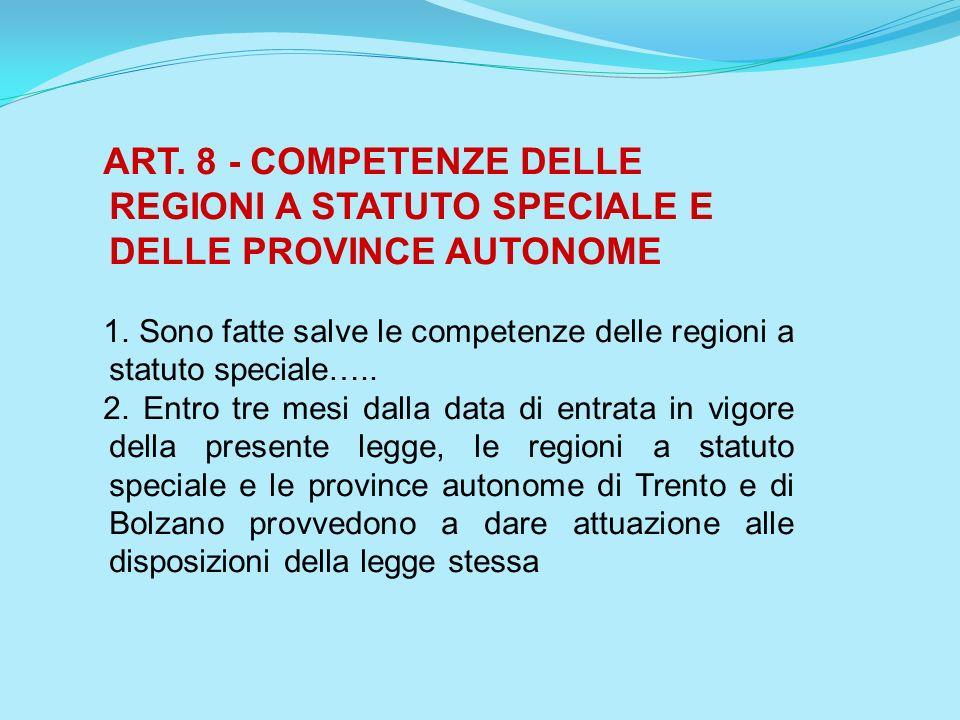 ART. 8 - COMPETENZE DELLE REGIONI A STATUTO SPECIALE E DELLE PROVINCE AUTONOME 1. Sono fatte salve le competenze delle regioni a statuto speciale….. 2