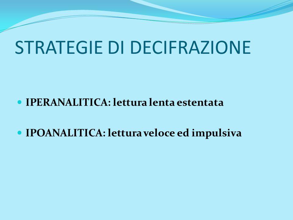 STRATEGIE DI DECIFRAZIONE IPERANALITICA: lettura lenta estentata IPOANALITICA: lettura veloce ed impulsiva