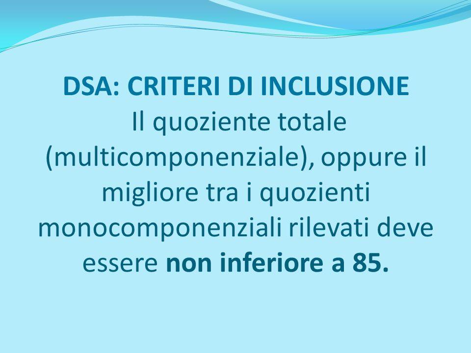 DSA: CRITERI DI INCLUSIONE Il quoziente totale (multicomponenziale), oppure il migliore tra i quozienti monocomponenziali rilevati deve essere non inf