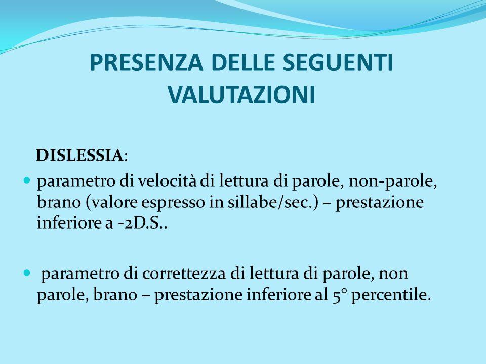 PRESENZA DELLE SEGUENTI VALUTAZIONI DISLESSIA: parametro di velocità di lettura di parole, non-parole, brano (valore espresso in sillabe/sec.) – prest