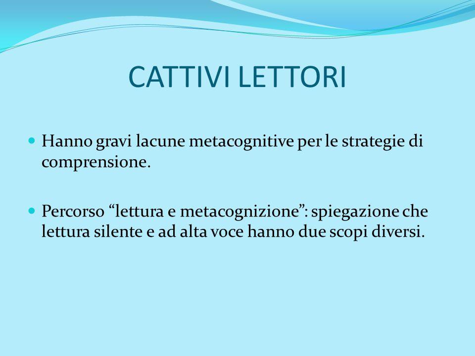 CATTIVI LETTORI Hanno gravi lacune metacognitive per le strategie di comprensione. Percorso lettura e metacognizione: spiegazione che lettura silente