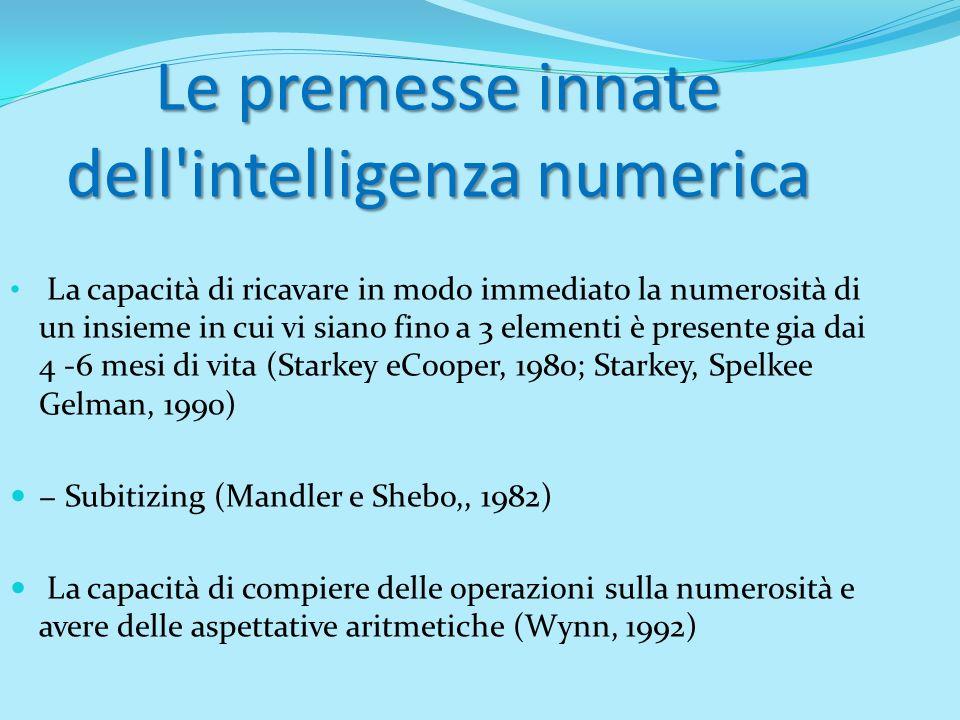 Le premesse innate dell'intelligenza numerica La capacità di ricavare in modo immediato la numerosità di un insieme in cui vi siano fino a 3 elementi