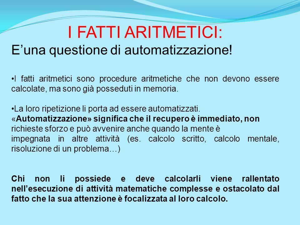 I FATTI ARITMETICI: Euna questione di automatizzazione! I fatti aritmetici sono procedure aritmetiche che non devono essere calcolate, ma sono già pos