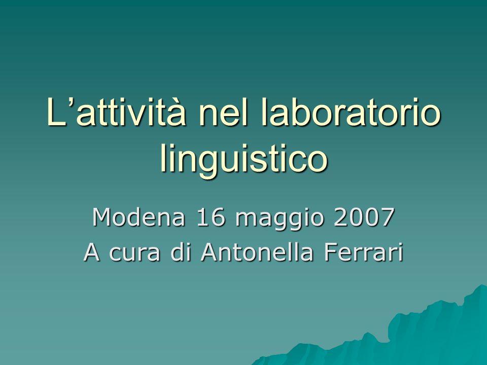 Lattività nel laboratorio linguistico Modena 16 maggio 2007 A cura di Antonella Ferrari