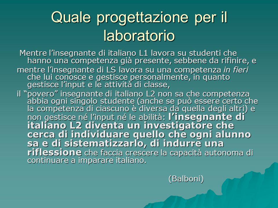 Quale progettazione per il laboratorio Mentre linsegnante di italiano L1 lavora su studenti che hanno una competenza già presente, sebbene da rifinire