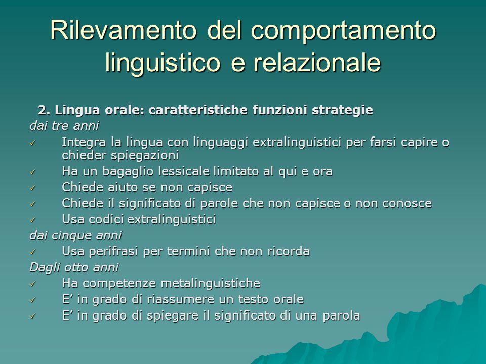 Rilevamento del comportamento linguistico e relazionale 2. Lingua orale: caratteristiche funzioni strategie 2. Lingua orale: caratteristiche funzioni