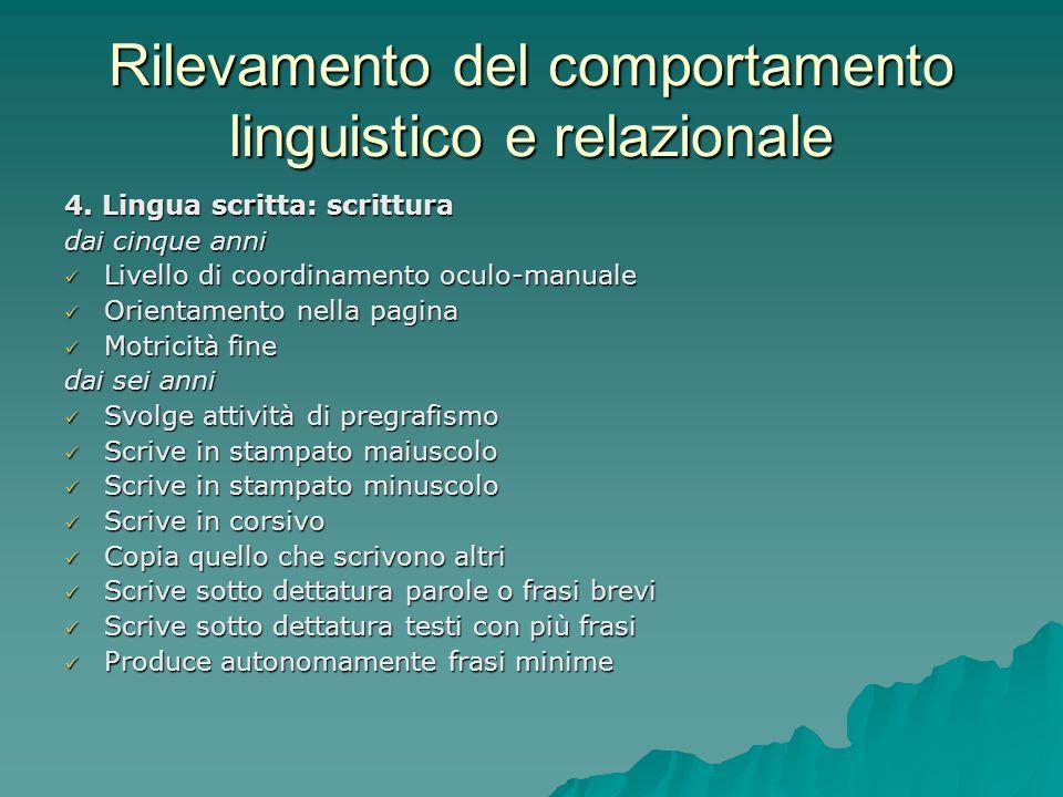 Rilevamento del comportamento linguistico e relazionale 4. Lingua scritta: scrittura dai cinque anni Livello di coordinamento oculo-manuale Livello di