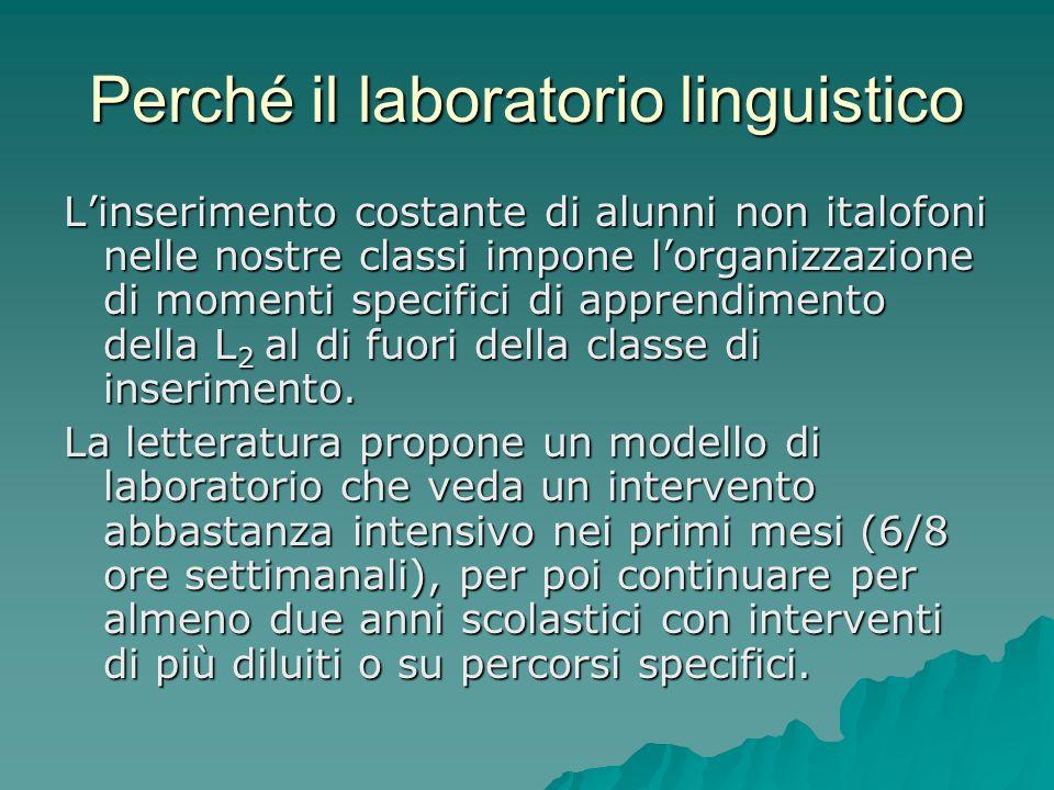 Perché il laboratorio linguistico Linserimento costante di alunni non italofoni nelle nostre classi impone lorganizzazione di momenti specifici di app