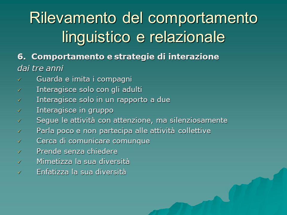 Rilevamento del comportamento linguistico e relazionale 6. Comportamento e strategie di interazione dai tre anni Guarda e imita i compagni Guarda e im