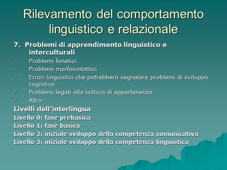Rilevamento del comportamento linguistico e relazionale 7. Problemi di apprendimento linguistico e interculturali Problemi fonetici Problemi fonetici