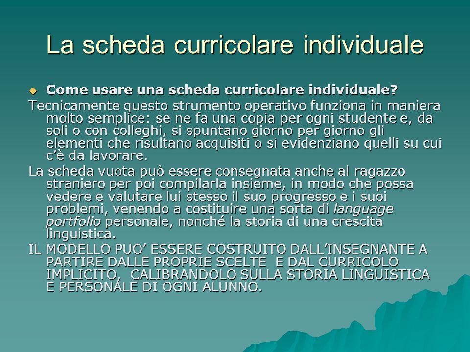 La scheda curricolare individuale Come usare una scheda curricolare individuale? Come usare una scheda curricolare individuale? Tecnicamente questo st