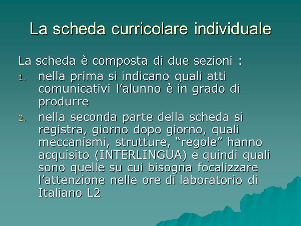 La scheda curricolare individuale La scheda è composta di due sezioni : 1. nella prima si indicano quali atti comunicativi lalunno è in grado di produ