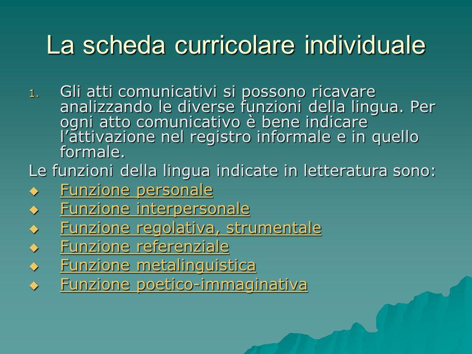 La scheda curricolare individuale 1. Gli atti comunicativi si possono ricavare analizzando le diverse funzioni della lingua. Per ogni atto comunicativ
