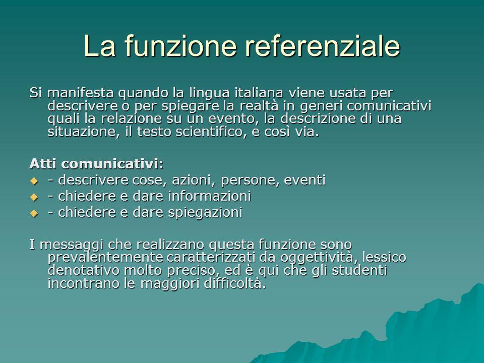La funzione referenziale Si manifesta quando la lingua italiana viene usata per descrivere o per spiegare la realtà in generi comunicativi quali la re