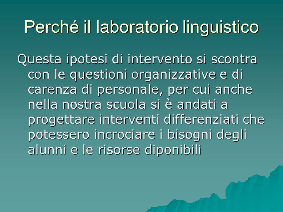Perché il laboratorio linguistico Questa ipotesi di intervento si scontra con le questioni organizzative e di carenza di personale, per cui anche nell