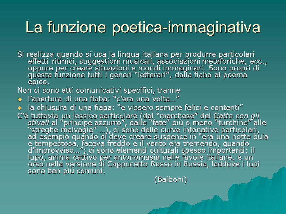 La funzione poetica-immaginativa Si realizza quando si usa la lingua italiana per produrre particolari effetti ritmici, suggestioni musicali, associaz