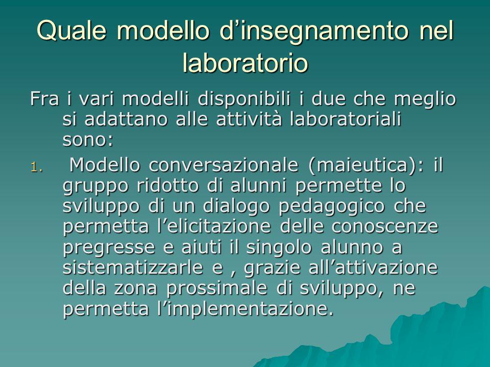 Quale modello dinsegnamento nel laboratorio Fra i vari modelli disponibili i due che meglio si adattano alle attività laboratoriali sono: 1. Modello c