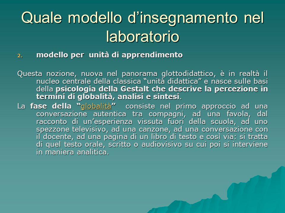 Quale modello dinsegnamento nel laboratorio 2. modello per unità di apprendimento Questa nozione, nuova nel panorama glottodidattico, è in realtà il n