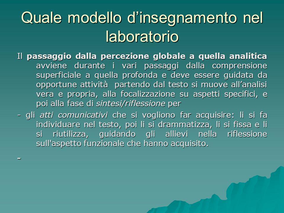 Quale modello dinsegnamento nel laboratorio Il passaggio dalla percezione globale a quella analitica avviene durante i vari passaggi dalla comprension