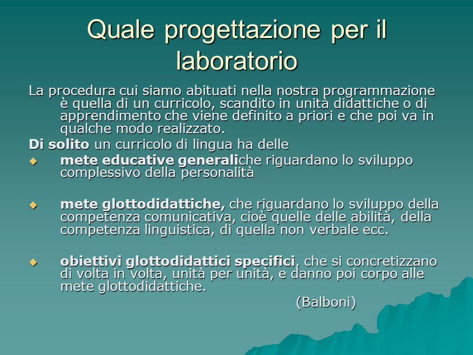 Quale progettazione per il laboratorio La procedura cui siamo abituati nella nostra programmazione è quella di un curricolo, scandito in unità didatti