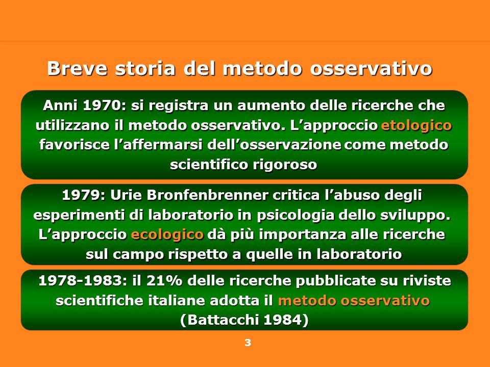 3 Anni 1970: si registra un aumento delle ricerche che utilizzano il metodo osservativo. Lapproccio etologico favorisce laffermarsi dellosservazione c