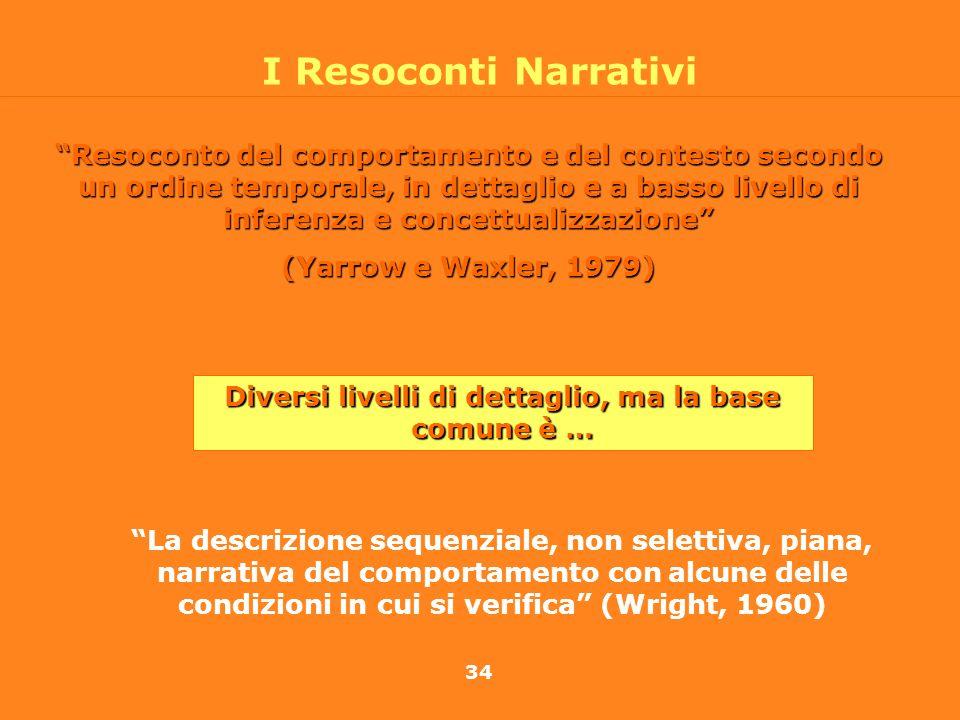 34 I Resoconti Narrativi Resoconto del comportamento e del contesto secondo un ordine temporale, in dettaglio e a basso livello di inferenza e concett