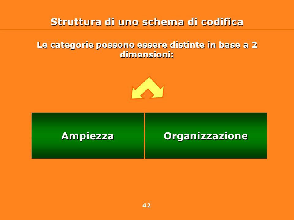 42 Struttura di uno schema di codifica OrganizzazioneAmpiezza Le categorie possono essere distinte in base a 2 dimensioni:
