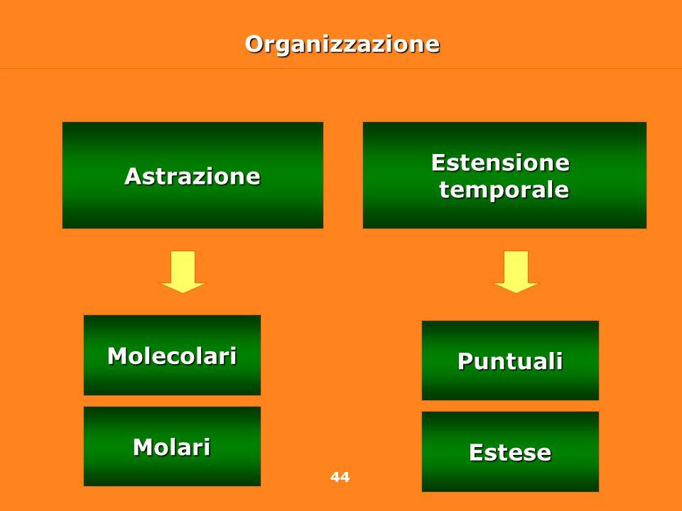44OrganizzazioneEstensionetemporaleAstrazione Molecolari Molari Puntuali Estese
