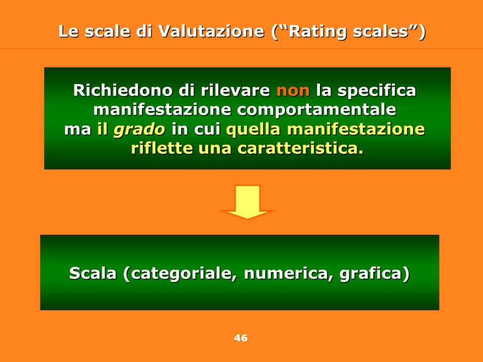 46 Le scale di Valutazione (Rating scales) Richiedono di rilevare non la specifica manifestazione comportamentale ma il grado in cui quella manifestaz