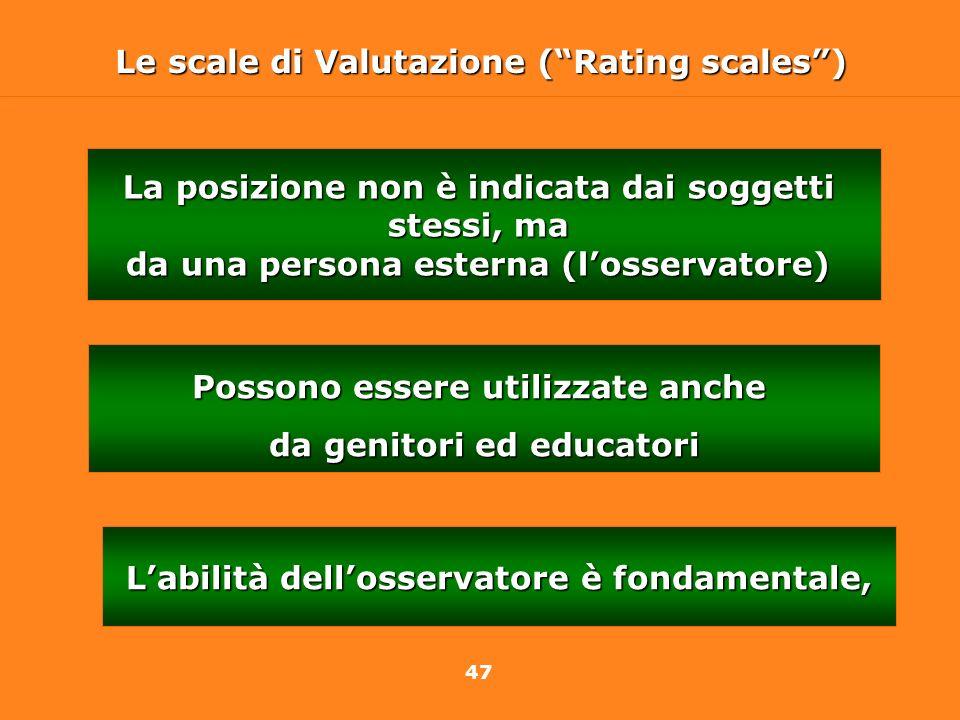47 Le scale di Valutazione (Rating scales) La posizione non è indicata dai soggetti stessi, ma da una persona esterna (losservatore) Labilità dellosse