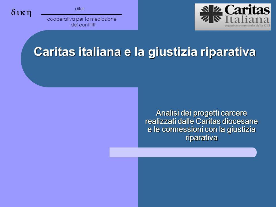 Caritas italiana e la giustizia riparativa Analisi dei progetti carcere realizzati dalle Caritas diocesane e le connessioni con la giustizia riparativa dike cooperativa per la mediazione dei conflitti