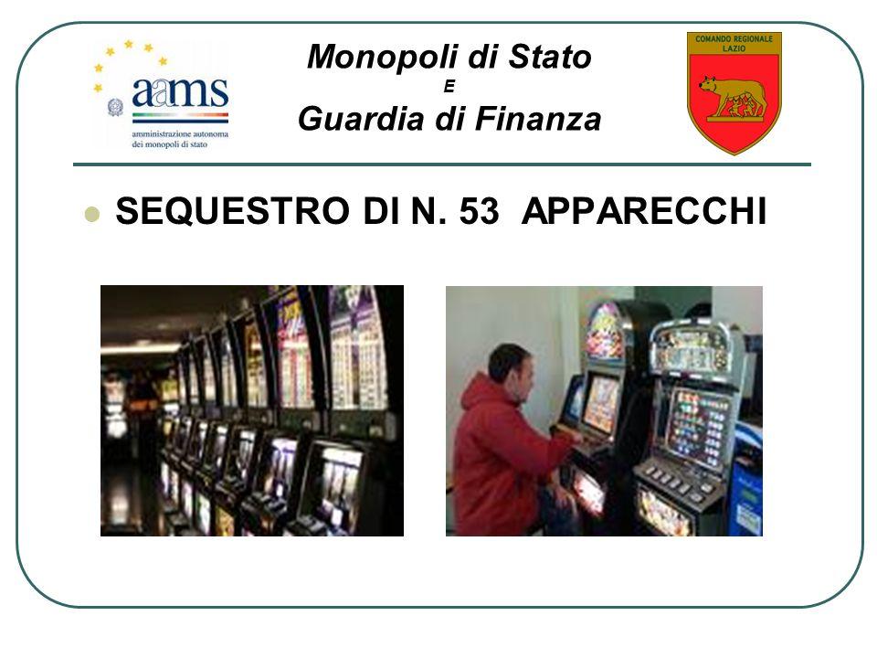 SEQUESTRO DI N. 53 APPARECCHI Monopoli di Stato E Guardia di Finanza