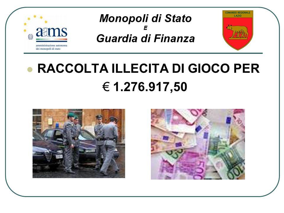 RACCOLTA ILLECITA DI GIOCO PER 1.276.917,50 Monopoli di Stato E Guardia di Finanza
