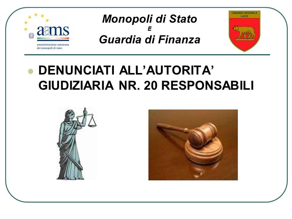 DENUNCIATI ALLAUTORITA GIUDIZIARIA NR. 20 RESPONSABILI Monopoli di Stato E Guardia di Finanza