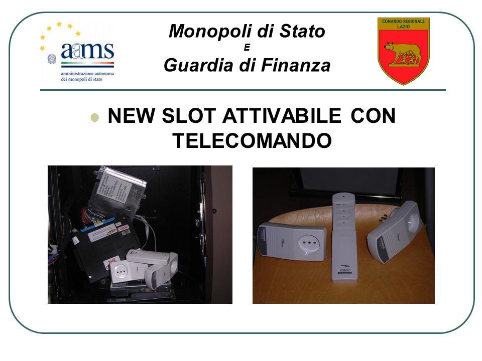 NEW SLOT ATTIVABILE CON TELECOMANDO Monopoli di Stato E Guardia di Finanza