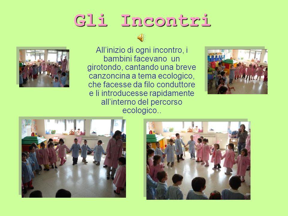 Allinizio di ogni incontro, i bambini facevano un girotondo, cantando una breve canzoncina a tema ecologico, che facesse da filo conduttore e li intro