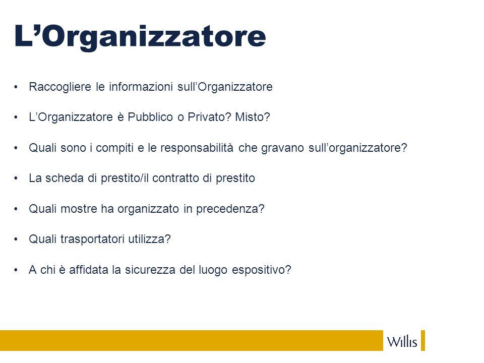 LOrganizzatore Raccogliere le informazioni sullOrganizzatore LOrganizzatore è Pubblico o Privato.