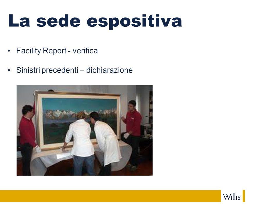 La sede espositiva Facility Report - verifica Sinistri precedenti – dichiarazione