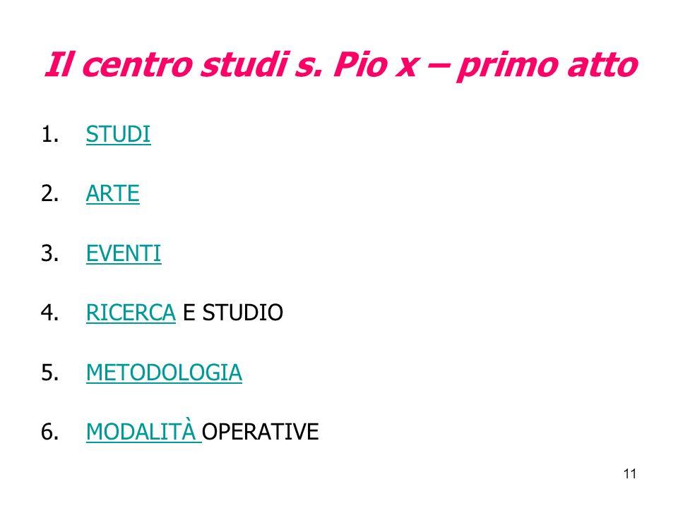 11 Il centro studi s. Pio x – primo atto 1.STUDISTUDI 2.ARTEARTE 3.EVENTIEVENTI 4.RICERCA E STUDIORICERCA 5.METODOLOGIAMETODOLOGIA 6.MODALITÀ OPERATIV