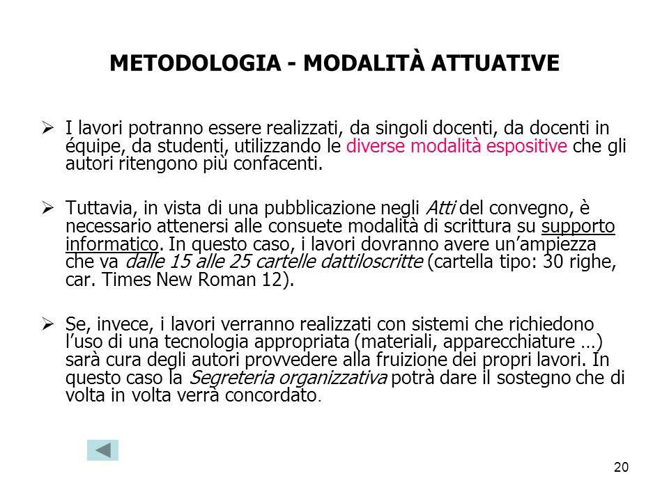 20 METODOLOGIA - MODALITÀ ATTUATIVE I lavori potranno essere realizzati, da singoli docenti, da docenti in équipe, da studenti, utilizzando le diverse