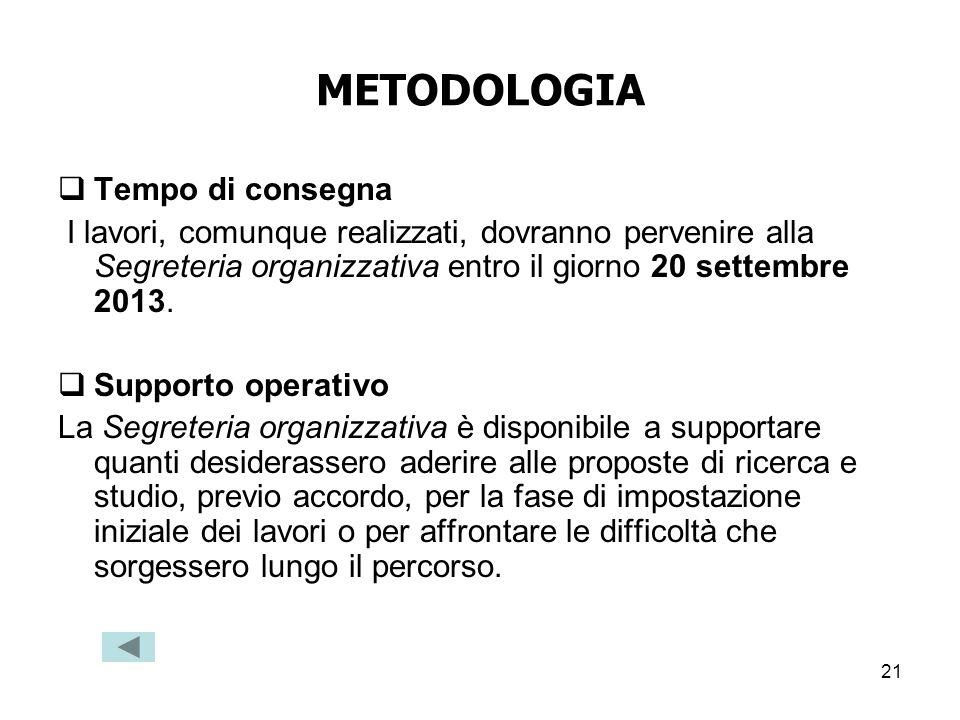 21 METODOLOGIA Tempo di consegna I lavori, comunque realizzati, dovranno pervenire alla Segreteria organizzativa entro il giorno 20 settembre 2013. Su