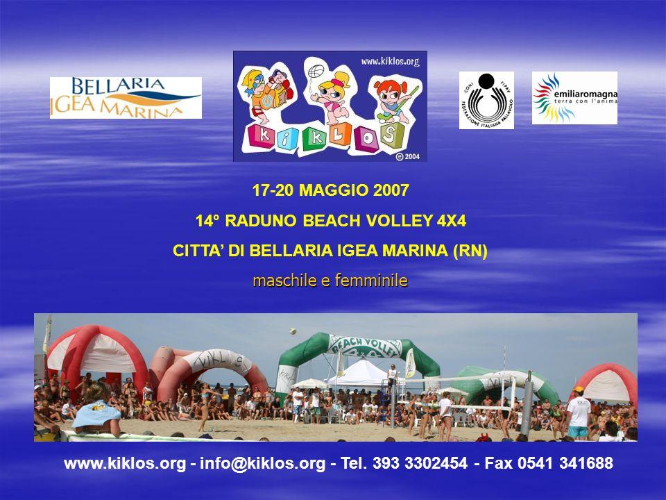 www.kiklos.org - info@kiklos.org - Tel. 393 3302454 - Fax 0541 341688 17-20 MAGGIO 2007 14° RADUNO BEACH VOLLEY 4X4 CITTA DI BELLARIA IGEA MARINA (RN)